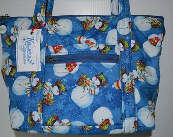 Quilted Fabric Handbag Purse Blue with Adorable Snowmen