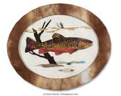 Small Oval-Shaped Original Brook Trout Collage