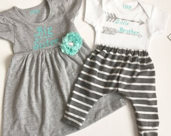 Big Sister Little brother OUTFITS .. Shabby chic mint aqua green and grey dress and onesie  arrows striped pants set. new baby..baby shower