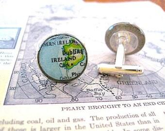 Vintage Ireland Map Cuff Links - Coin Dime Cufflinks Ireland - Dublin Cufflinks - Cork - Celtic - personalized gift for him - Irish Man
