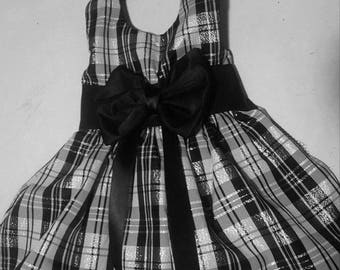 Black and White Taffeta Dog Dress OOAK Size Large  18.00