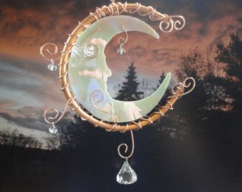 "Stained Glass Moon, Garden Sculpture, Celestial, Sun Catcher, Mobile, Copper Moon,Iridescent Crescent Moon, Ornament, Moon Garden ""Moon Man"""