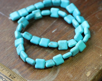 Turquoise Magnesite Square Beads Full Strand Loose Blue Green Beads