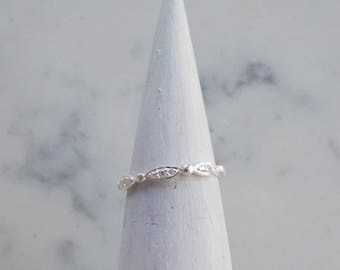 LUCY scalloped pave band. CZ gemstone ring, patterned band. wedding band silver minimalist ring.