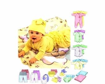 SALE Infants Coveralls Top Bodysuit Pants Diaper Cover Bootie Bib Hat McCalls 3665 Sewing Pattern Newborn - Small - Medium - Large Uncut