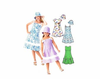 SALE Girls Dress and Hat Lizzie McGuire Simplicity 4721 Sewing Pattern Size 3 - 4 - 5 - 6 Uncut