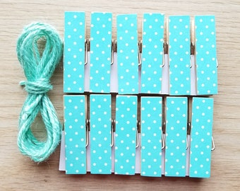 Aqua Seafoam Teal Turquoise Tiny Polka Dots w Twine for Photo Display, Chunky Little Clothespin Clips Set of 12, Baby Shower Birthday Party