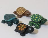 Christmas in July sale polymer clay miniature turtles for fairy garden, gnome or terrariums, tiny turtles