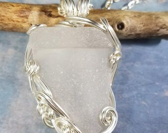 White Seaglass Bottleneck Pendant Silver Wire Wrapped