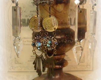 tWinkle tWinkle one of a kind vintage assemblage earrings . vintage starlight rhinestones + vintage brass coins