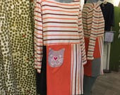 SALE Cat lover womens large dress Long Sleeve Kitty Tunic Dress cotton and one of a kind womens flattering and fun casual and cute