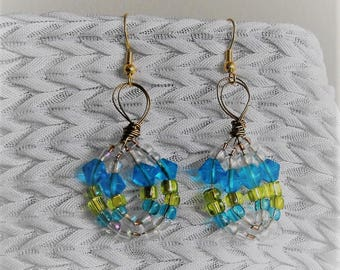 Cluster Earrings MADE TO ORDER, Free Domestic  Shipping, Special Order, Choose Bead Colors, Choose Wire Colors, Kae1Crafts, Gift for Her