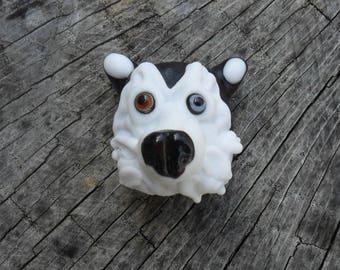 Siberian Husky Sculpture Blue Eye Brown Eye Artisan Lampwork SRA Glass Dog by Glassymom