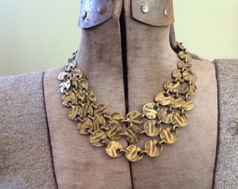 Kien Canadian made Gold Coin necklace, Vintage Multi Coin Brass necklace, Vintage Coin necklace, Three strand necklace
