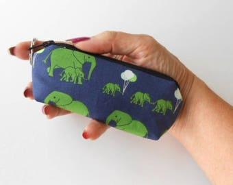 Mini Key Ring Zipper Pouch ECO Friendly Padded Lip Balm Case NEW Elephant Safari Party