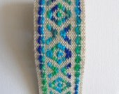 "vintage woven fabric upholstery trim in bright blue and sage green 2"" wide 1 yard"