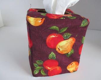 Tissue box cover, square tissue box, reversible, turkey, pumpkin, apples, fall, Thanksgiving, home decor, decorative, bathroom, bedroom