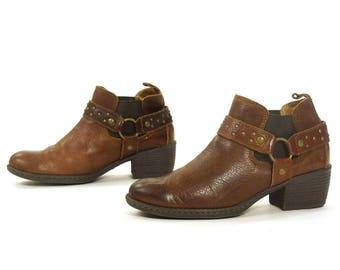 90s Brown Leather Ankle Boots / Vintage 1990s Born Western Buckle Harness Shortie Pee Wee Chelsea Booties / Moto Boho Rocker / Women's 7