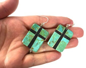 Santo Domingo Turquoise Earrings / Vintage Depression Era Pueblo Southwestern Inlay Mosaic Cross Dangle Earrings for Pierced Ears