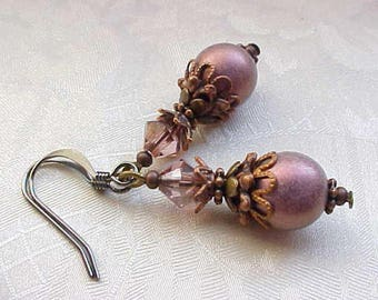 TOP SELLER LAST1 Mauve Earrings Victorian Pink Earrings Victorian Earrings Dusty Rose Antique Pink Earrings Civil War Earrings Antique Style