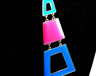 Triple Geometric Box Pendant Blue Pink Aqua Box Pendant Necklace Vintage Necklace Enamel Pendants 24 Inch Gold Tone Chain