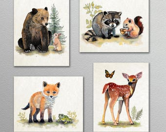 Set of Four Painted Forest Woodland Animal Wall Art Prints. Cabin, Nursery decor