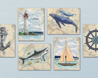 Set of Six Out At Sea - Ocean/Nautical Art Prints