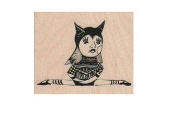 circus stamp woman  rubber stamp steampunk style 19224  Mary Vogel Lozinak pinkflamingo61