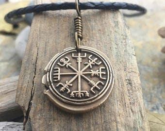 Vegvisir, Men's Jewelry, Viking Jewelry, Bronze Compass, Nordic Runes, Runic Necklace, Irish Viking, Viking Compass, Norse Icelandic, Runes
