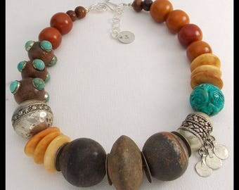 MYA - Ancient African Spindle Whorls - Mixed African & Tibetan Beads Statement Necklace