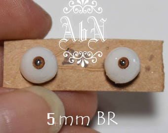 Hand Made Glass Like Eyes 5mm - Brown - for OOAK Art Dolls BR-5mm