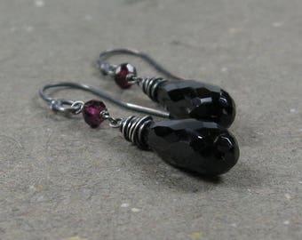 Black Spinel Earrings Pink Tourmaline Long Oxidized Sterling Silver Dangle Earrings