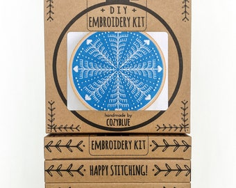 WINTER SNOWFLAKE embroidery kit - embroidery hoop art, DIY holiday, snowflake decor, gifts under 30, blue and white christmas, gift for her