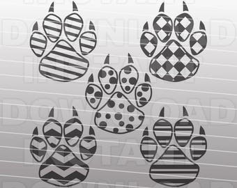 Patterned Paw Prints SVG File,Tigers SVG,Panthers svg,Wildcats svg,Bears svg -Commercial & Personal Use- Vector svg for Cricut,Silhouette