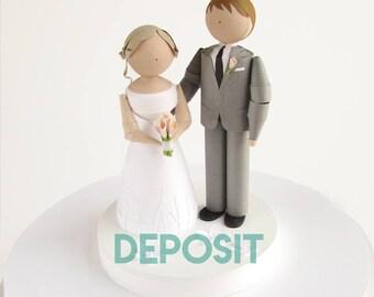 Handmade Wedding Figurines DEPOSIT, Wedding gift, wedding shower gift, Quilled Paper wedding figurines, bride and groom, wedding decor