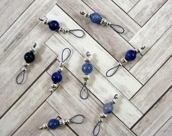 Handmade Blue Aventurine Gemstone Stitch Markers - US 5 - Item No. 1065