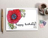 Birthday Card - Greeting Card - Blank Birthday Card - Floral Birthday Card - Illustrated Birthday Card - Poppy Happy Birthday Card