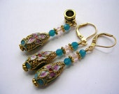 Pink and Blue Cloisonne Flower Earrings with Swarovski Crystals Gold Leverback Hooks and gift boxed Free Necklace Pendant