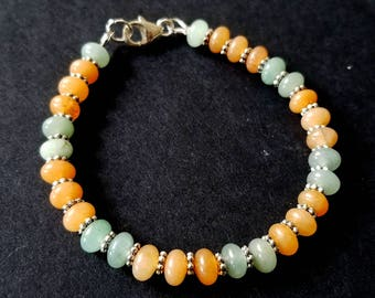 Aventurine Bracelet, Orange and Green Bracelet, Beaded Gemstone Stacking Bracelet