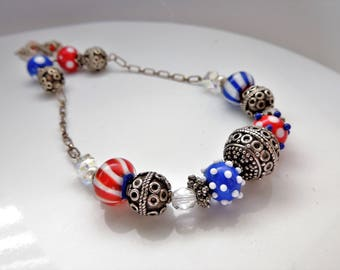 Red, White and Blue Artisan Lampwork and Sterling Necklace