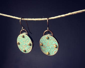 Harbinger Collection Patina Green Floral Riveted Earrings