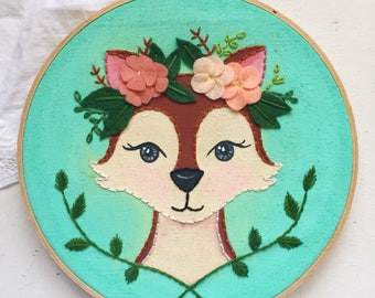 Embroidered Art Hoop - Whimsical Woodland Fox with Floral Crown