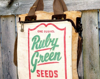 Ruby Green Seeds - Book Tote W- OOAK Canvas & Leather Tote .. Selina Vaughan