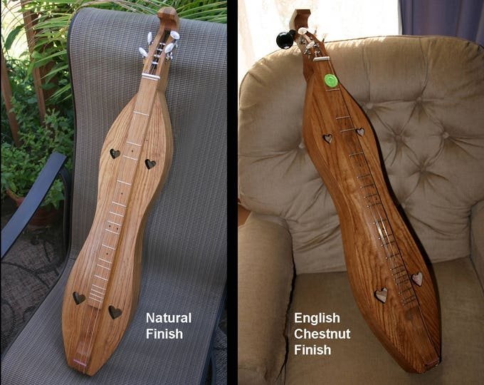 Custom Wormy Chestnut Mountain Dulcimer, 4-string Hour-glass, with padded case, and Optional Electric