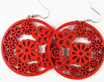 20% Off Sale Clearance 49mm Filigree Wood Flower Pendant - Red 14 Pieces - LCEJEWJE00294-03