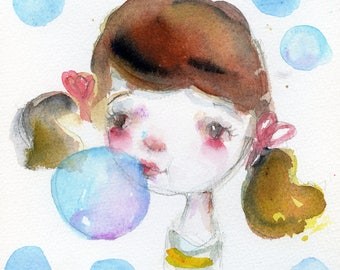 Lil Miss Bubble - 6x6 original watercolor