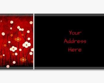 Original Artwork Address Label Stickers Sheet of 60 Personalized Landscape Flowers Black White Red Modern Customize Housewarming Gift