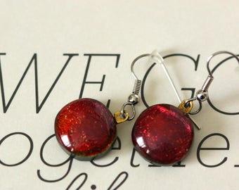 Red Copper  Dichroic Fused Glass Earring, Drop Earrings, Dangle Earrings, E0168, GetGlassy