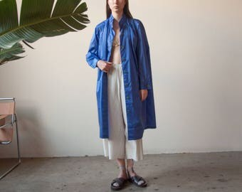 blue purple tent trench rain coat / belted waterproof coat / 80s rain coat / s / 2230o / B20