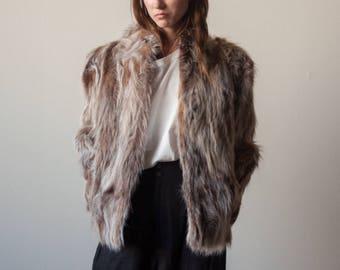 raccoon fur chubby coat / oversized fur coat / 70s glam coat / s / 567o / B5